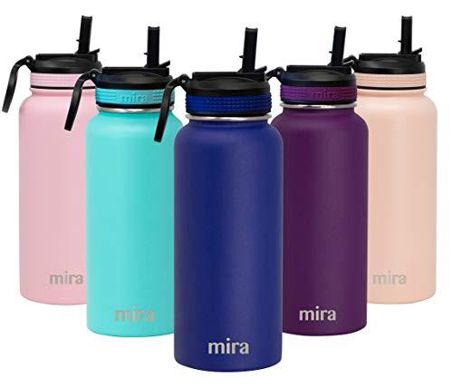 MIRA Botella de agua de acero inoxidable con tapa de pajita | Termo de metal aislado al vacío mantiene frío durante 24 horas, caliente durante 12 horas | tapa de paja sin BPA