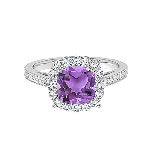 Shine Jewel Piedra Preciosa de Amatista púrpura Plata 925 1.30 CTW Amortiguar Aureola Anillo de Novia (24)