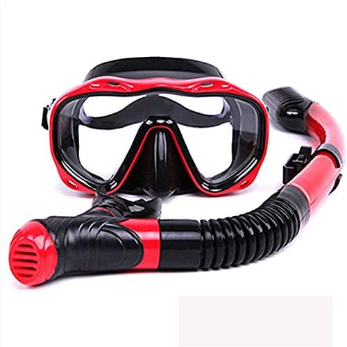 AWJ Máscara de Buceo Máscara de Snorkel Máscara de Buceo Profesional y esnórquel HD Antivaho Gafas a Prueba de Fugas Buceo Libre Natación Juego de Tubo de respiración fácil para Adultos (Co
