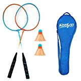 KH 2 Players Badminton Racquets Set-Lightweight & Sturdy-2 Rackets, 2 Shuttlecocks and Carrying