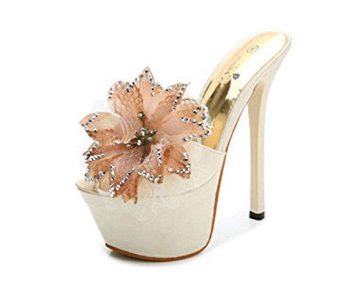 Huaishu vrouwen Diamant Bloem Schoenen Stiletto Schoenen 15 cm Hoge hakken Water Satijn Sandalen Slippers Flip Flops Dames Meisjes Slippers Sandalen