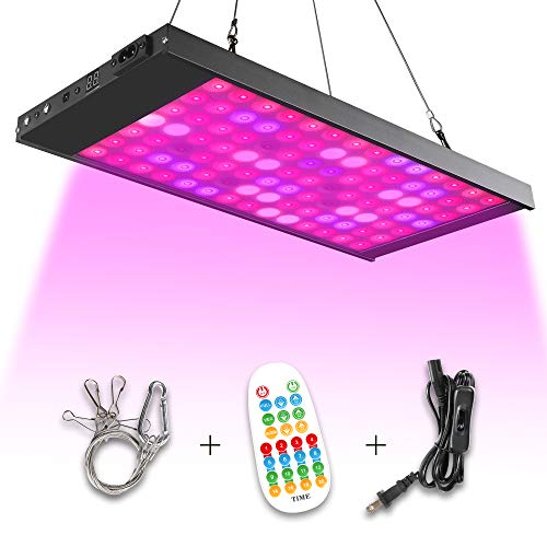 Led Grow Light,98 Led Full Spectrum Growing Lamp Light Bulbs with Timer and Remote for Indoor Plants Seedling Greenhouse Hydroponic Plants, Multiple Panels Connectable