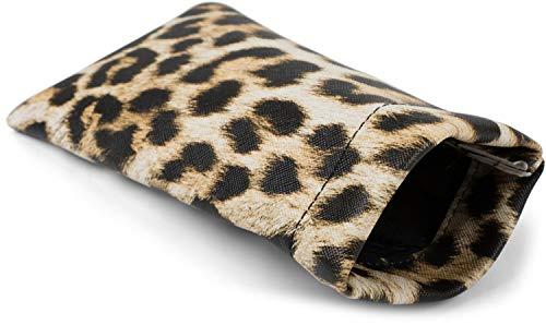 styleBREAKER Etui für Sonnenbrillen mit Leoparden Muster und Putztuch, Brillenetui mit Schnappverschluss, Unisex 09020096, Farbe:Braun-Beige