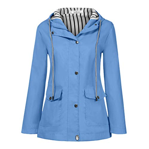 JESPER Rain Jacket Women Waterproof with Lined Raincoat with Hood Best for Outdoor Active Travel Hiking Light Blue