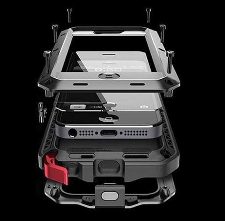 Facil&co Coque [Solide, Robuste et Rigide] Iphone 5 5S Se Antichoc Armor [Ecran de Protection en Verre Trempé], Silicone Aluminium et Metal la Plus Dure jamais conçue