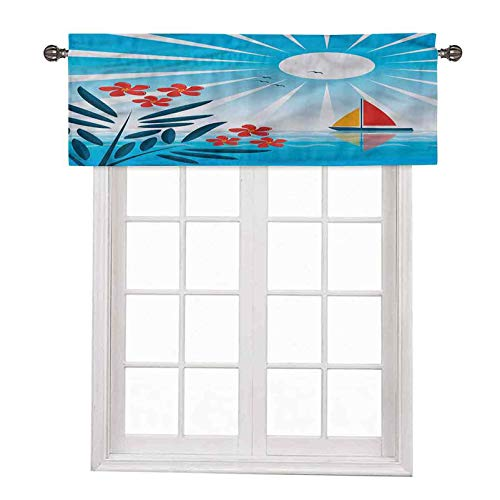 """Nautical Window Short Curtains Valances Oleanders and Sailboat42 x 18"""" Inch"""