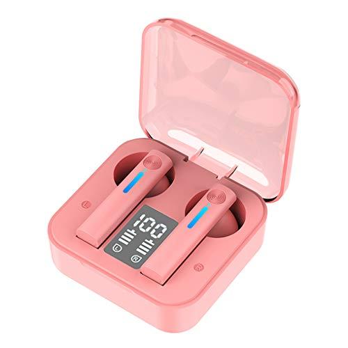 wanzhaofeng Los Auriculares inalámbricos, Auriculares inalámbricos con micrófono, en la Oreja los Auriculares Bluetooth 5.0, Auricular inalámbrico con Estuche Cargador, Rosa