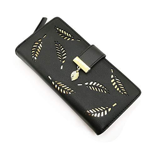 Women's Long Purse Leather Medium Wallet Leaf Bifold Card Coin Holder Small Purses Buckle Zipper Clutch (Black)-by Vodiu
