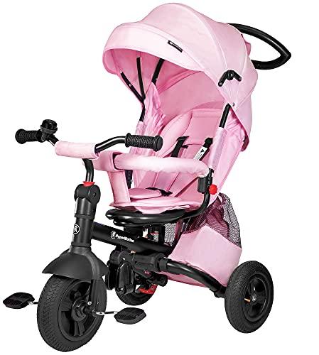 HyperMotion Tobi Velar Triciclo con asiento giratorio, triciclo para niños con mango para padres, ruedas hinchadas, rueda libre, chubasquero para los padres, color rosa