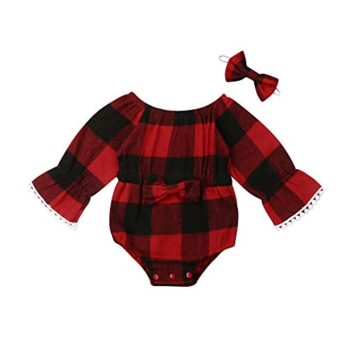 Newborn Baby Girl Christmas Clothes Plaid Ruffle Long-Sleeve Romper Bodysuit Fall Outfits (red Plaid Tassel Romper+Headband, 0-6 Months)