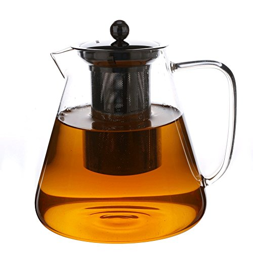 50oz/1.5Liter Large Glass Teapot with Stainless Steel Infuser and Lid, Flower Tea and Loose Leaf Glass Tea Pot