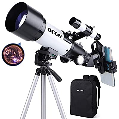 occer Telescopes for Adults Kids Astronomy Beginners - 70mm Aperture 400mm Travel Scope FMC Optic for View Moon Planet - Portable Refractor Telescope with Adjustable Tripod Finder Scope Phone Adapter