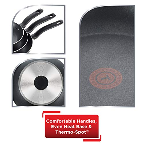 """T-fal Specialty 3 PC Initiatives Nonstick Inside and Out, 8"""", 9.5"""", 11"""", Black"""
