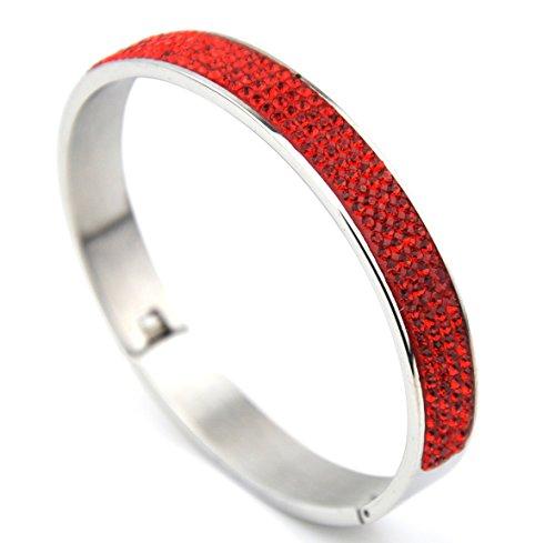 Hochwertigem Edelstahl Armband Armreif mit SWAROVSKI-Kristallen Scharnierverschluss rot