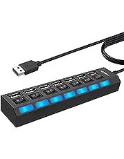 LOBKIN hub usb 7 porte sdoppiatore usb con singoli interruttori on/off e luci a LED per PC, unità flash USB, mouse e altro