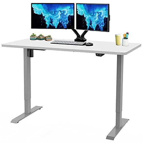 Flexispot - Mesa de trabajo eléctrica de 53.9 x 28.0in, mesa de trabajo de mesa de trabajo de mesa para el hogar, oficina, ordenador, altura ajustable, color gris (marco gris + 53.9in superior blanca)