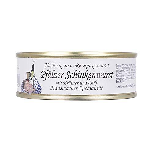 Genussleben Pfälzer Schinkenwurst mit Kräutern und Chili, Dosenwurst Wurstkonserven Wurstdosen, lange haltbar, Hausmacher Spezialität