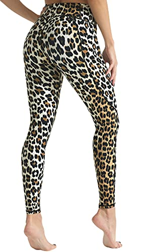 FITTIN Leopard Printed Yoga Leggings for Women with Pocket - Ankle Length Pants for Running Sports Fitness Workout Gym Brown Medium