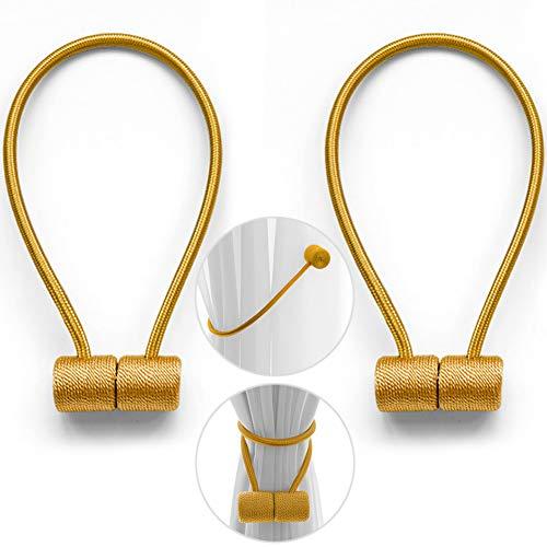 Vorhang Raffhalter Magnetische Vorhang Halter 2pcs DIY Kreativ Modellierung Kein Bohren erforderlich Gardinenhalter für Haus Büro(Gold, 44cm)