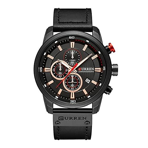 Tree-es-Life 8291 Reloj para Hombre Cinturón Calendario Reloj para Hombre Reloj con Calendario de Seis Agujas Reloj de Cuarzo Resistente al Agua Movimiento de Cuarzo Concha Negra Cinturón Negro