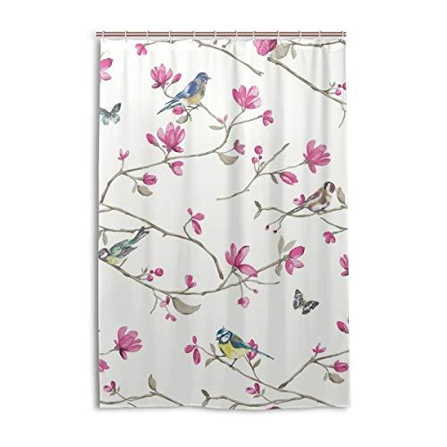 DEZIRO Cortina de baño de poliéster con diseño de pájaros y flores, color rosa, impermeable, 122 x 183 cm
