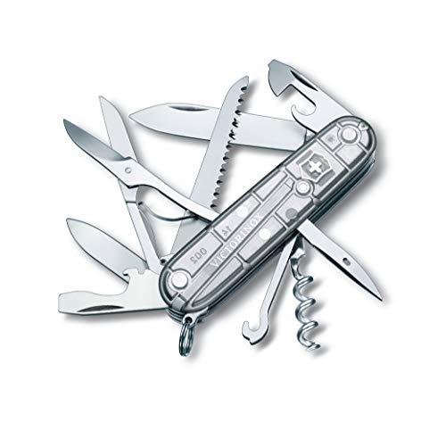 Victorinox Taschenmesser Huntsman (15 Funktionen, Schere, Holzsäge, Korkenzieher) silber transparent