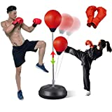 Punching Bag with Stand for Adults&Kids Boxing Bag Equipment Speed Bags Set Kickboxing Bag Reflex Ball MMA Boxing Training Equipment Home Gym Stuff with 2 Gloves