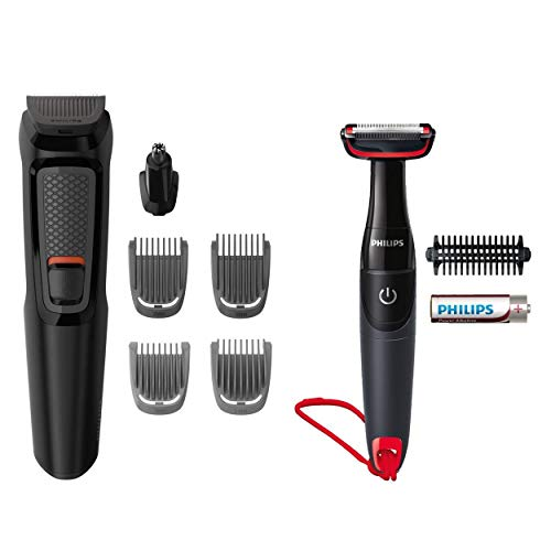 Philips Grooming Kit Series 3000 MG3710/85 baardtrimmer voor heren, baardtrimmer, neus, oren, 6 in 1