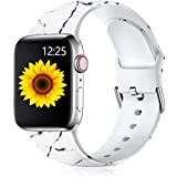 Muranne Compatible with Apple Watch Band SE 44mm 42mm for Women Men Fadeless Cute Pattern Printed Floral Bands Soft Silicone Replacement Sport Wristbands for iWatch Series 6 5 4 3 2 1, Marble, M/L