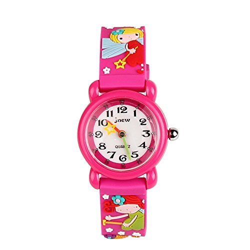 Eleoption Waterproof Kids Watch for Girls Boys Time Machine Analog Watch Toddlers Watch 3D Cute Cartoon Silicone Wristwatch Time Teacher for Little Kids Boys Girls Birthday Gift (Fairy- Rose Red)