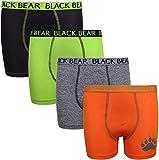 Black Bear Boys' Performance Dry-Fit Compression Boxer Brief (4 Pack), Black, Green, Grey, Orange, Large / 12-14