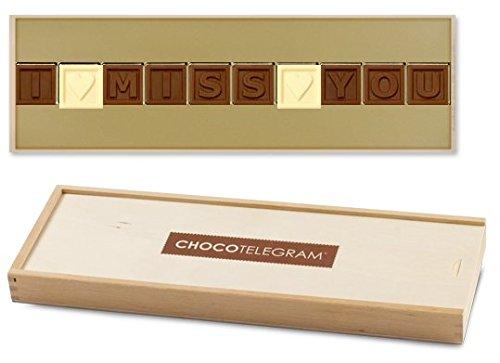 I ? MISS ? YOU - ChocoTelegram | Schokoladenbotschaft | Ich vermisse dich Schokolade | Holzschachtel | Valentinstag | Liebesgeschenk | Liebesgeschenke | Frauen | Männer | Frau | Mann