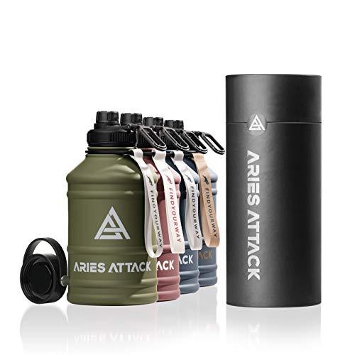 ARIES ATTACK Trinkflasche Edelstahl 2L - Water Jug mit 2 Verschlüssen - BPA Frei - Stabil und Auslaufsicher - 2.2 L Water Bottle für Fitness, Crossfit, Gym und Outdoor - Kohlensäure Geeignet - Berlin