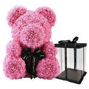 SUPERMOLON Oso de Rosas 40cm con Caja de Regalo - Rose Bear 40cm Oso Rosas Artificiales Foam - Regalo San Valentín, Enamorados, Aniversario, Amor, Cumpleaños, Regalo romántico (Rosa)
