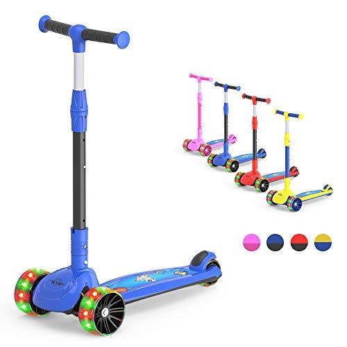 M MEGAWHEELS Kick Scooter 2 in 1 Scooter für Kinder 3-Rad, mit Einstellbarer Höhe, LED-Leuchträder für Kinder