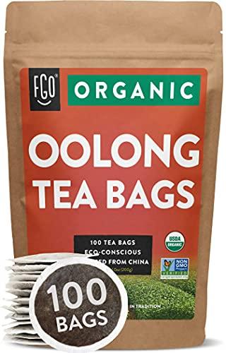 Organic Oolong Tea Bags | 100 Tea Bags | Eco-Conscious Tea Bags in Kraft Bag | Raw from China | by FGO