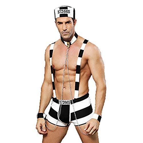 KAKU Men's Sexy Underwear Sailor Costume Adult Mens 3 Pieces Prisoner Role Play Costume Suspender Underwear Outfits White