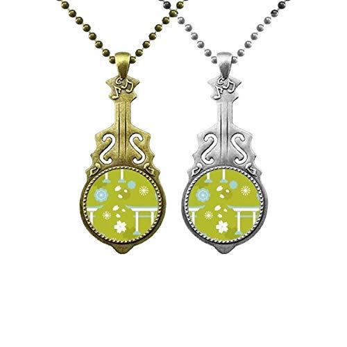 Halskette mit Anhänger, japanische Gitarre, Blau / Grün / Weiß