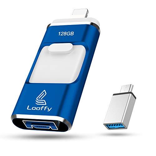 Looffy Pendrive 3.0 compatibile per iphone 128gb, Chiavetta USB 4 in 1 per OTG Telefono Android Tipo C USB C 128gb, Memoria USB per Computer OTG Smartphone Laptop