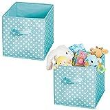 mDesign Juego de 2 cajas organizadoras para guardar juguetes o ropa en la habitación infantil – Cajas plegables cuadradas con asa y de tela – Cajas de tela con diseño de puntos – turquesa/blanco