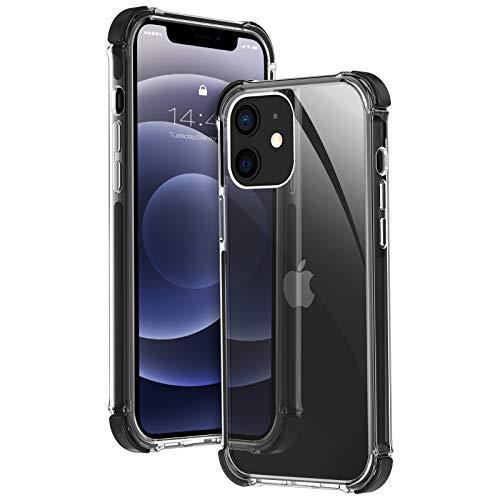 MATEPROX Custodia per iPhone 12 Mini, 4 Angoli Anti Caduta Protettiva Cover con Trasparente Duro PC, Chiaro Antiurto Antiscivolo Sottile Custodia per iPhone 12 Mini 5.4'' 2020-Nero