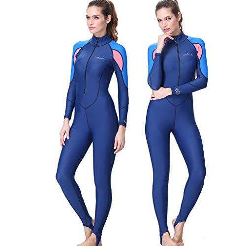 WoCoo Women Snorkeling Surfing Scuba Diving One-Piece Wetsuit Scuba Thermal Suit for Underwater Sport,Surfing,Diving(Blue,Large)