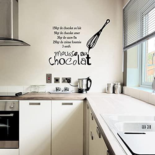 Jsnzff Etiqueta engomada de la Pared del Vinilo de la Cocina Francesa calcomanía Mousse Chocolate Mural Azulejo Arte de la Pared Cocina 58x44cm