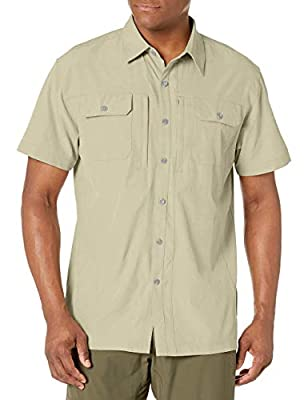 Little Donkey Andy Men's Lightweight Short Sleeve Shirt Quick Dry Stretch Shirt for Hiking Travel, UPF50 Khaki Size XL