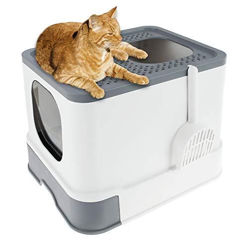 Fashionslee_jp 猫 トイレ 猫用トイレ本体 ネコトイレ システムトイレ 大容量 大型 砂の飛び散ら防止 掃除簡単 脱臭抗菌 2ドア式 組み立てしやすい 漏れ砂穴設計 引き出し付き スコップ付き フルカバー おしゃれ 人気