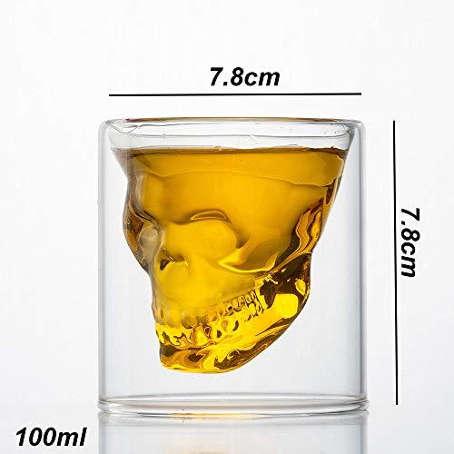 HwaGui Bicchieri da Liquore Teschio di Cristallo Doppio Vetro per Whisky Birra Bevande, Tazza Pirati per Bar Partito Casa 100ml / 3.5oz