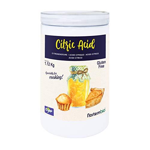 Nortembio Zitronensäure 1,12 Kg. 100% Reines Pulver in Lebensmittelqualität. Ökologischer Input. E-Book Inklusiv.