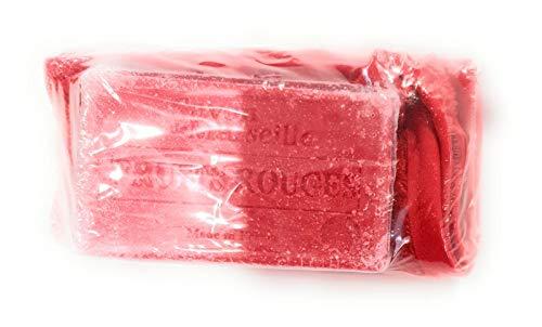 Savon de marseille senteur Fruits rouge 72% huile d'olive + gant de toilette couleur rouge