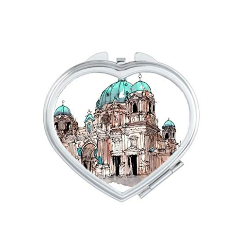 DIYthinker Big Ben en Grande-Bretagne Coeur Maquillage Compact Miroir de Poche Portable Mignon Petit Cadeau Miroirs Main Multicolor
