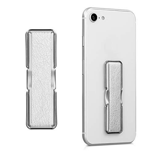 kwmobile Agarre elástico para móvil con Soporte - Banda de sujeción para Dedo - Correa Trasera de Cuero sintético para Smartphone - En Plateado